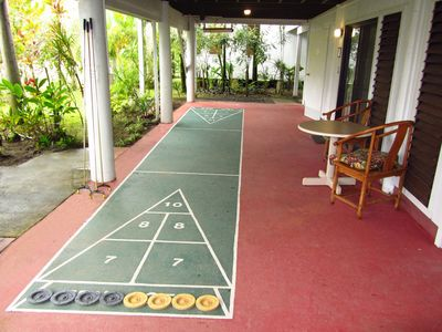 Enjoy a great game of shuffleboard on the covered patio
