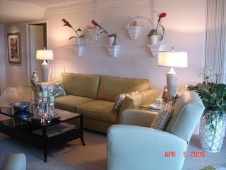 Kaanapali condo photo - Designer Sofa and One of Two Recliners for TV Viewing