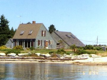 South Thomaston house rental - House From Water - The structure in the rear is the garage and 3rd bedroom