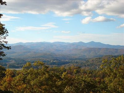 Layered view of Mt. Pisgah and the Blue Ridge from back deck