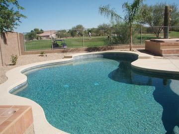 San Tan Valley house rental - Pebble Tek pool with new Kool Deck with golf course behind.
