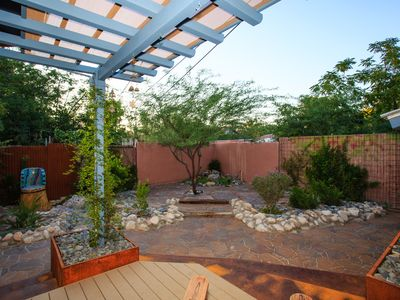 Zen xeriscaped backyard is private and quiet