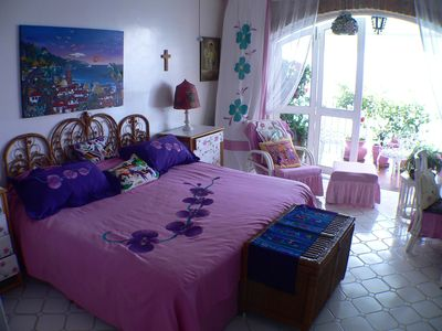Puerto Vallarta condo rental - King Size Bedroom with Decor by Artist Ada Colorina