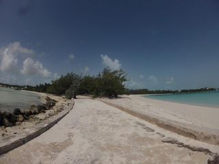 Great Exuma villa photo - Far left is Villa 29 - shows the 5 min walk along the beach to Jolly Hall Beach!