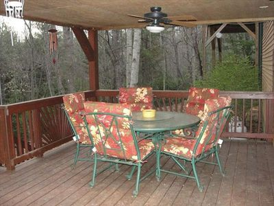 Fletcher cottage rental - Relax on the covered deck.