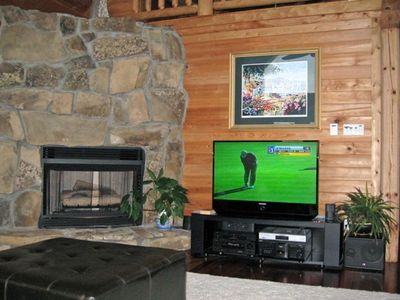 Fireplace and latest digital tv and surround sound system
