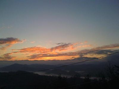 Pigeon Forge cabin rental - yet another beautiful sunrise from the deck