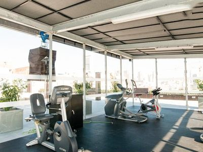 The rooftop deck has a cardio gym