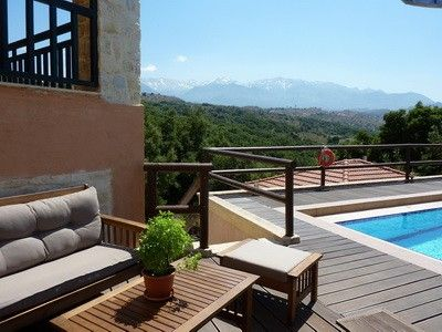 Kalives villa rental - Pool side views of the White Mountains