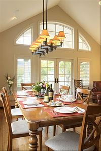 View of dining room with French farm table -- seats eight