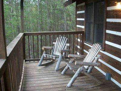 Covered rear deck w/mountain view & 2 custom log rockers to relax & enjo