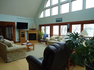 Westport Island house photo - Great Room with gas fireplace