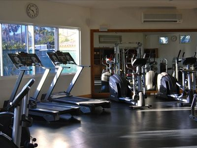 Onsite gym with indoor workout area...