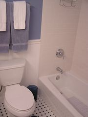 Southold house photo - Newly renovated second full bath with tub/shower