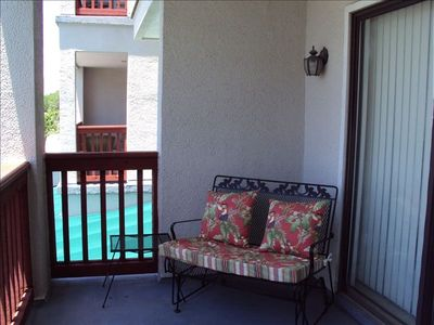 Balcony w/Fabulous Views, Glider,& Bistro Table & chairs