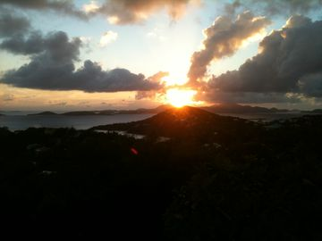 Winter sunset is over St Thomas to the west