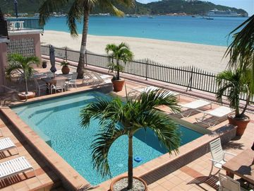 Philipsburg condo rental - View from villa towards pool, beach, and cruise ship dock