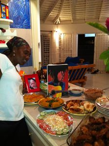 Ms. Annette cooking some nice Jamaican dishes!