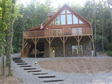 Black Mountain cabin rental - Front View of Cabin Overlooking Pond
