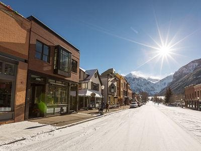 Tru Lux building on left. Perfect in town location on Main Street in Telluride.