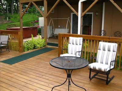 Asheville condo rental - after hot tub, a place to hang out on the deck