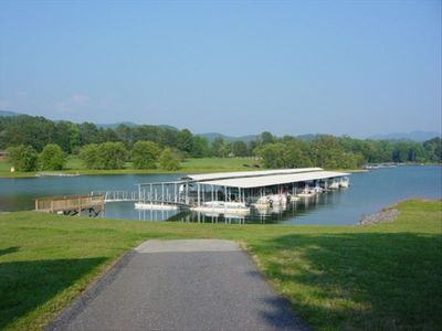 View of Community covered boat dock