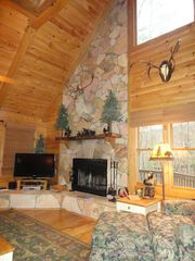 Blue Ridge cabin photo - Soaring Fireplace & Windows for Taking in The Views