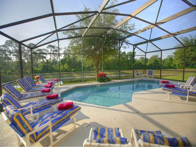 South Facing private pool overlooking pond and heavily wooded area.