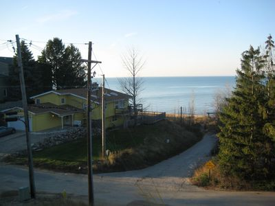 View from the living room to beach access road