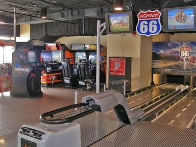 on-prem Game Room with Mini-Bowling, Air Hockey, Arcade Games and more!