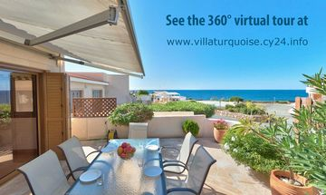 Chlorakas villa rental - Patio dining in full view of the Mediterranean