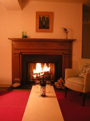 Sag Harbor house photo - an evening by the fireplace