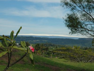 View of snow capped Mauna Loa from the back of the house.
