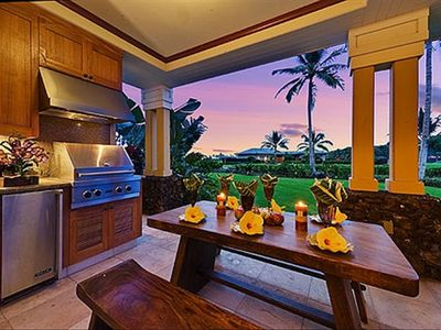 "Kolea Villa 2D ""Ocean Breeze"" - Lanai Kitchen, Mahogany Table at Sunset"