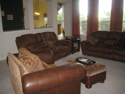 "Very Large Family Room with over-sized chair/4 recliners/55"" TV for movie night!"