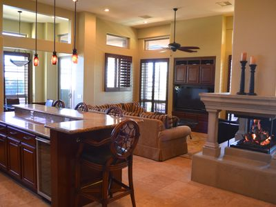 Gourmet Kitchen Bar and Great Room with Flat Screen Television