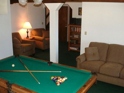 Family Area - First Floor; pool table, comfortable furniture