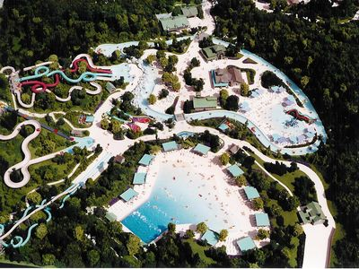 An aerial view of Dollywood's Splash Country only 12 miles away from Sugar Plum