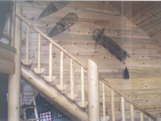 Polson house photo - Mountain Log Home Stairway to Loft