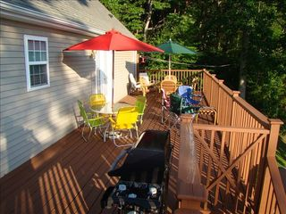 Leicester house photo - Rear deck with ample seating and gas grill