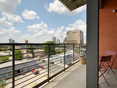 Amazing views of downtown from private deck.