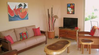 Tulum condo photo - Native hardwoods and original art.