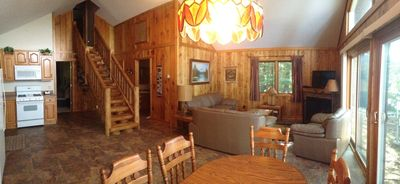 A panoramic view of the Lake House. Just out the front windows is Otter Lake!