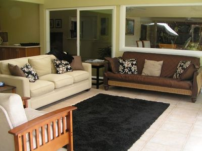Living area in the lanai, nice and comfortable after a day in the sun.