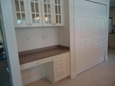desk and pantry in kitchen