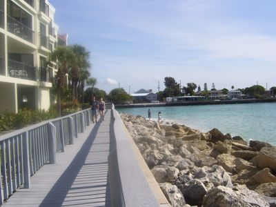 Boardwalk by coastal waters.....
