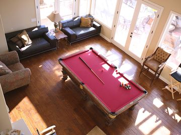 pool table, pinball machine, and video games