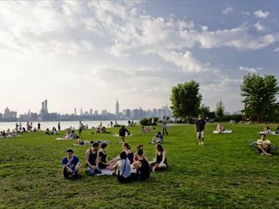 The East River State Park with the view of Manhattan