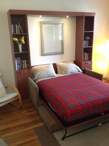 Cambridge condo rental - Comfortable queen-sized bed with built-in reading lights.