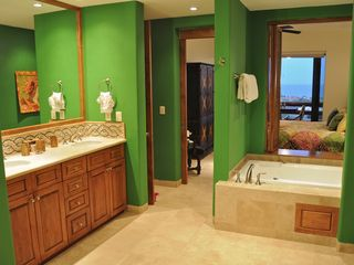 San Jose del Cabo condo photo - One of the master baths: jetted tub, walk-in shower, W.C., big closets, marble
